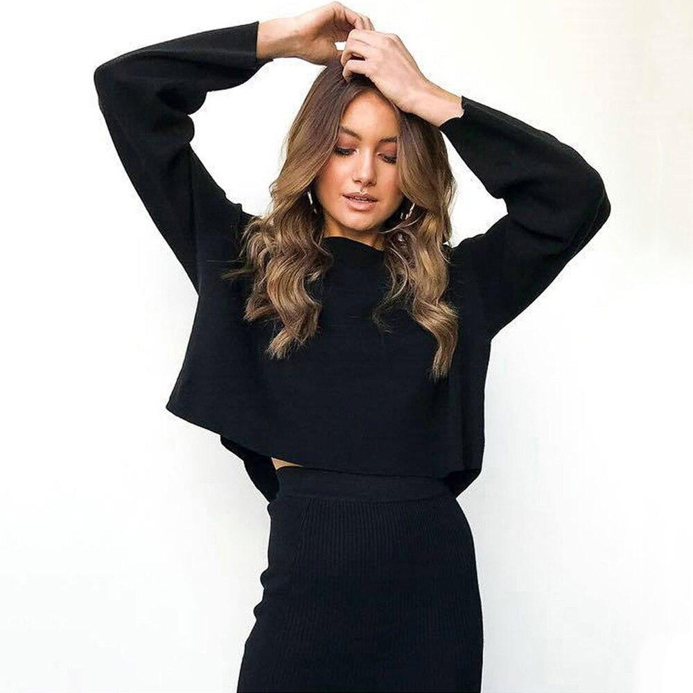 2018 Venta Directa Sexy traje de falda Top cultivo conjunto completa cintura elástica Mid-calf Sexy cuello redondo de manga de murciélago suelto 2 unidades conjunto de las mujeres