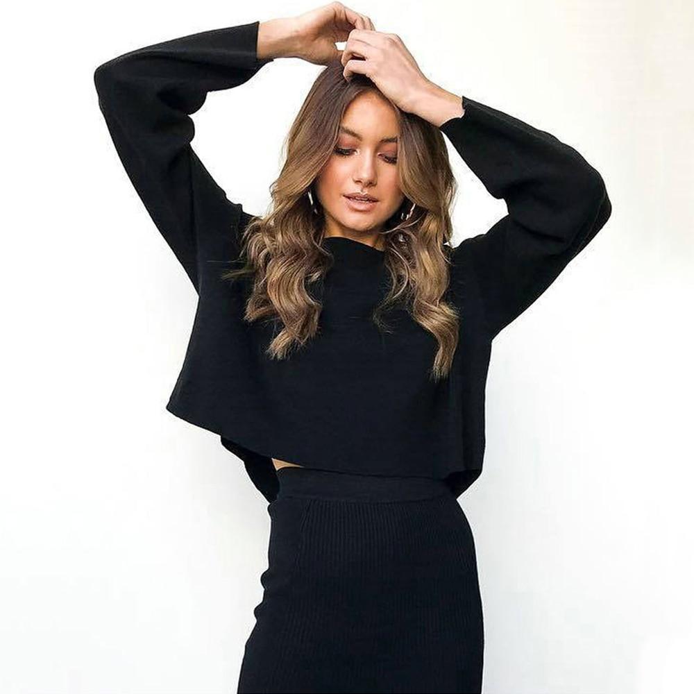 2019 O-neck Selling Sexy Suit Crop Top Skirt Set Full Elastic Waist Mid-calf Round Neck Bat Sleeve Loose 2 Piece Women