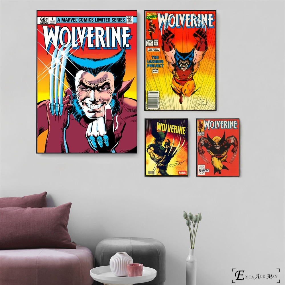 Wolverine Vintage Comic Artwork Canvas Painting Posters And Prints For Living Room No Framed Wall Art Picture Home Decor On Sale image
