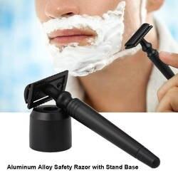 Безопасная бритва из алюминиевого сплава с подставкой вращающийся триммер для бороды двухсторонняя длинная ручка мужской станок для