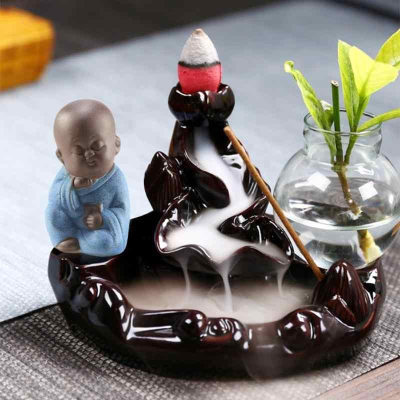 Beliebte Kleine Buddha Statue Tee Haustier Lila Sand Keramik Home Office Auto Mönch Figur Dekoration Ornamente Handwerk Wohnkultur