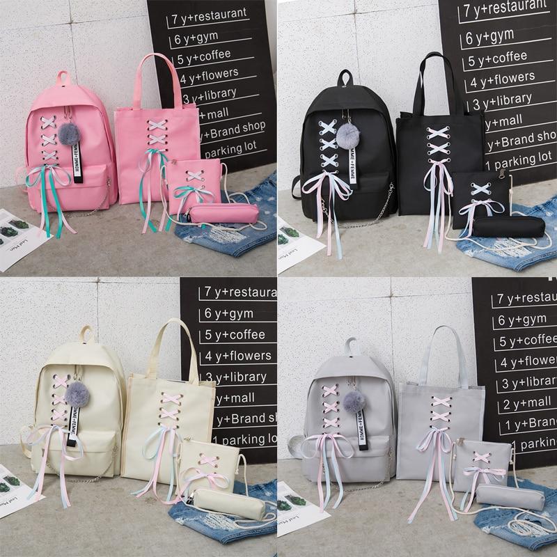 4 Pcs Set Fashion Backpack Women Leisure Back Pack Japan Ladies Knapsack Casual Women Teenage Girls Classic Bagpack School Bags