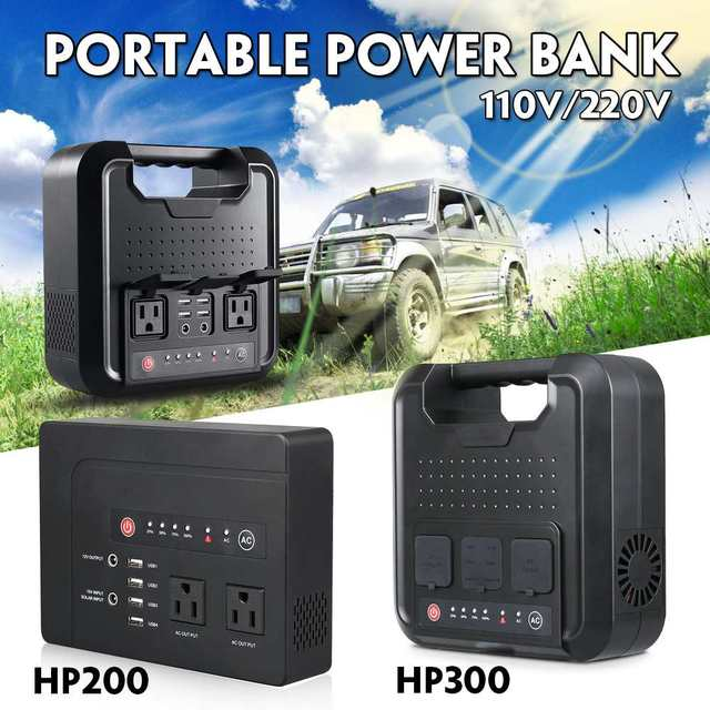 200W/300W Portable Solar Generator Power Supply with Inverter USB LCD Display Energy Storage Generation for Outdoor Home Car
