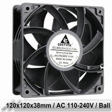 1 pcs EC Brushless Cooler Cooling Fan 120mm x 38mm 12038 12cm AC 110V 115V 120V 220V 240V 2 Wires