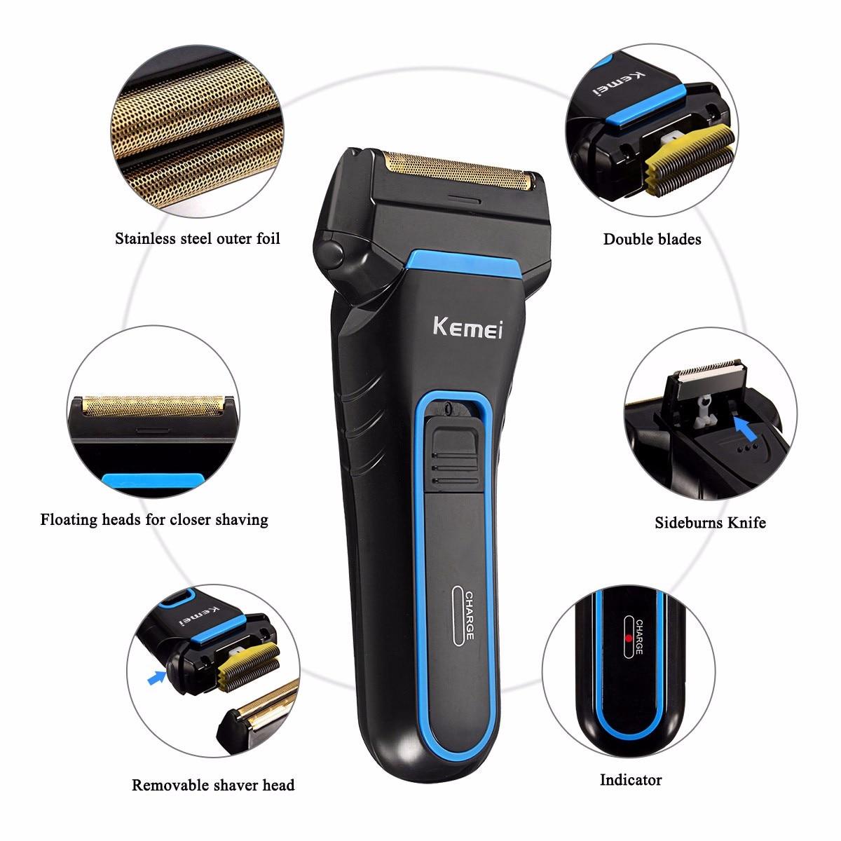 Kemei Men Electric Razor Shaver Portable Cordless Dual Foil Shaver Rechargeable Beard Razor Trimmer Razor Electric Shaver