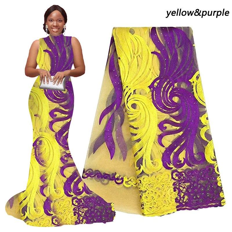Violet lacet africain tissu pour aso ebi orange crème jaune français dentelle tissu avec des pierres blanc dernières tulle dentelle