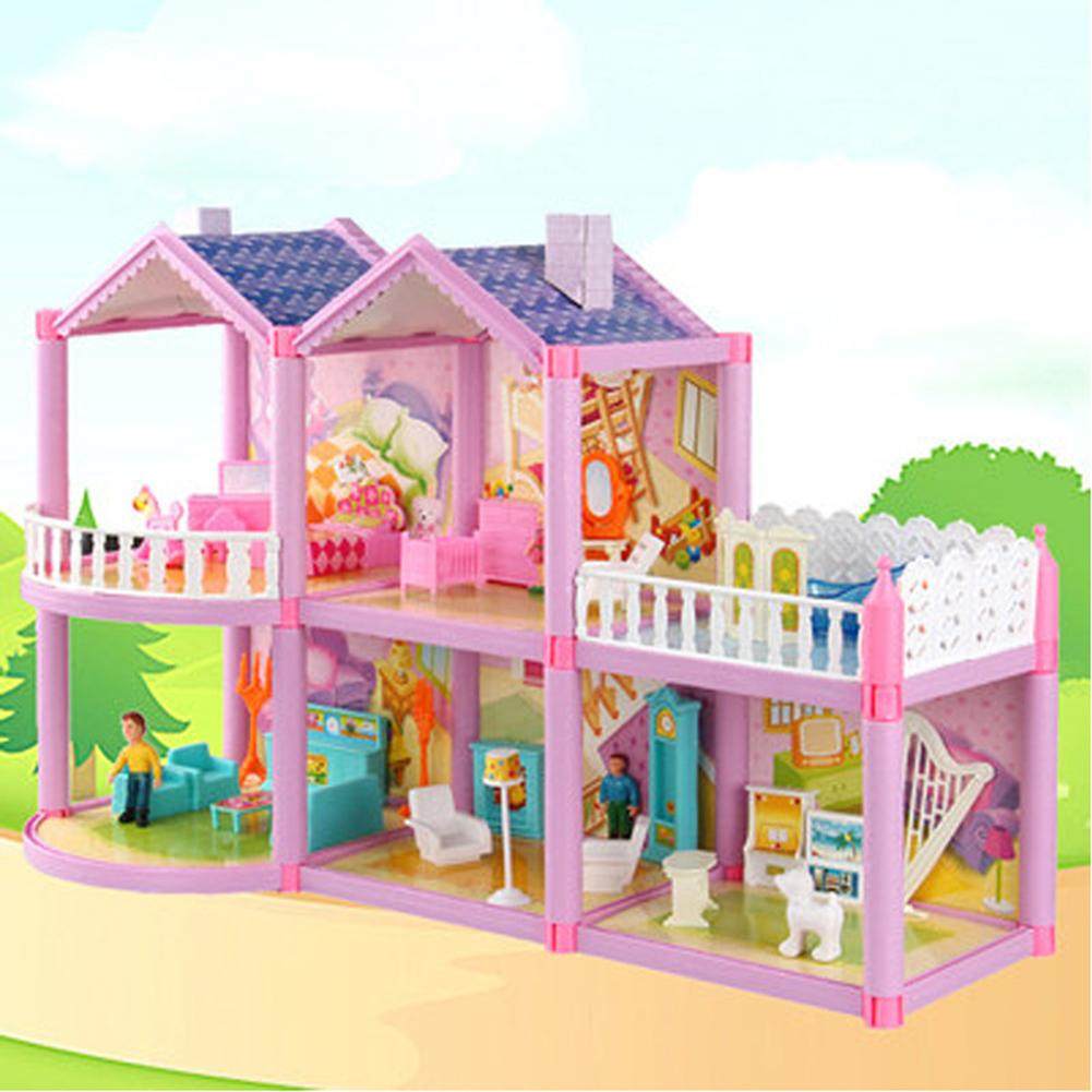 Dollhouse Villa DIY Assembled House Sweet Castle Model Simulation Playset Toys Set Featuring Odorless And Exquisite