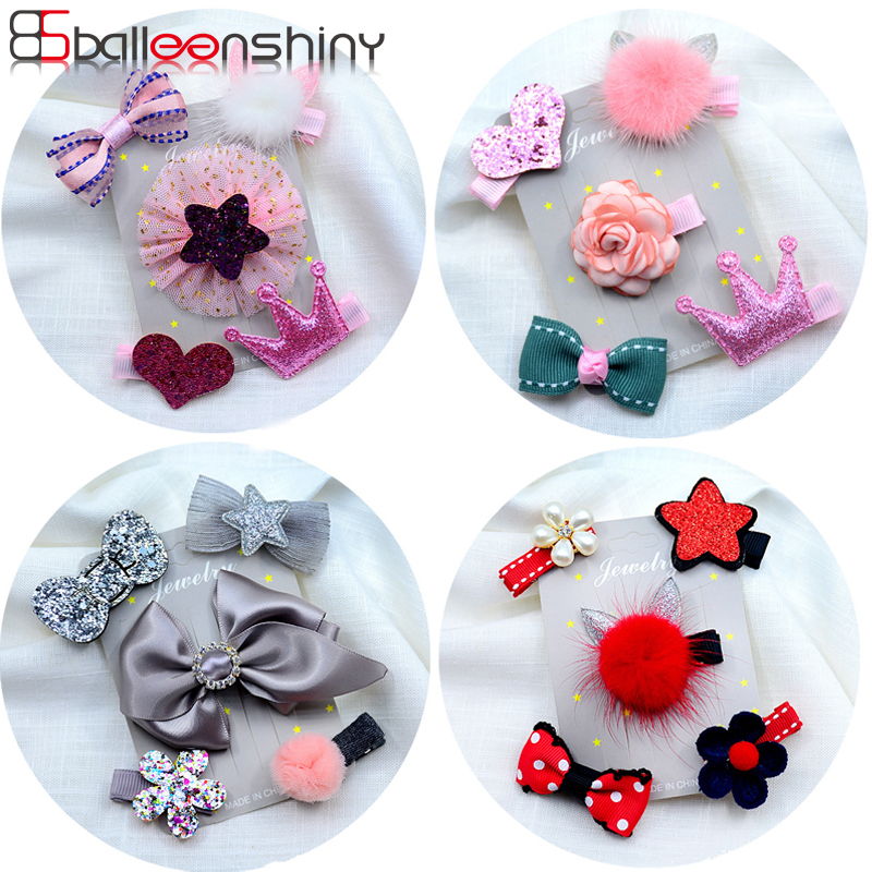 BalleenShiny 5PCS Glitter Bow Crown Headwear Set Child Kids Fashion Princess Lace Flower Hairpins Fur Ball Hair Clip Headdress