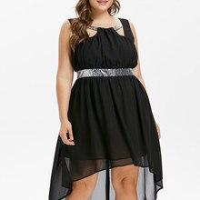 b7d6ac173017 Wipalo Plus Size Sequins Trim Sleeveless Flowing Dress Sparkly High Low Hem Maxi  Dress Women A