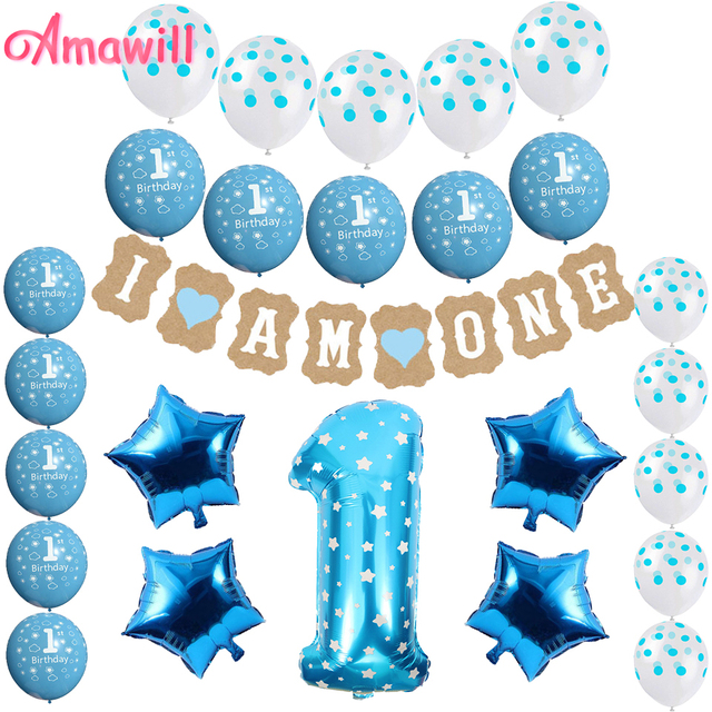 Amawill 1 Year Old Birthday Party Decorations Baby Boy Girl Pink Blue Latex Balloons Foil Globos I Am One Banner Babyshower 65D