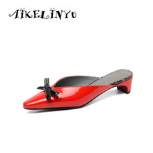 AIKELINYU Summer Flats Mules Lady Sandals Slippers Bow Slip on Pointed Toe Women Mules Outdoor Sweet Slipper Shoes Office Woman