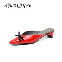 купить AIKELINYU Summer Flats Mules Lady Sandals Slippers Bow Slip on Pointed Toe Women Mules Outdoor Sweet Slipper Shoes Office Woman по цене 2757.98 рублей