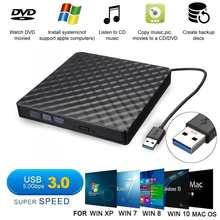 Внешний USB3.0 DVD RW CD Writer тонкий оптический привод горелки ридер плеер лоток тип портативный для портативных ПК