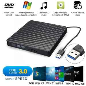 External USB3.0 DVD RW CD Writer Slim Optical Drive Burner Reader Player