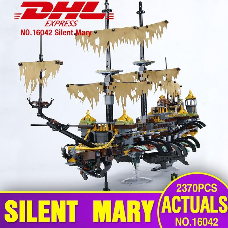 DHL 16042 القراصنة السفينة سلسلة اللبنات 71042 Slient ماري مجموعة الأطفال التعليمية الطوب الجمعية الاطفال اللعب نموذج هدية-في حواجز من الألعاب والهوايات على  مجموعة 1