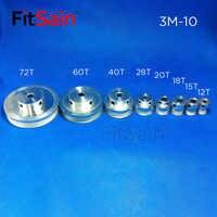 FitSain-HTD 3M polea de aleación de aluminio reducción de relación de transmisión rueda sincrónica 12 T/15 T/18 T/20 T/28 T/40 T/60 T/72 T