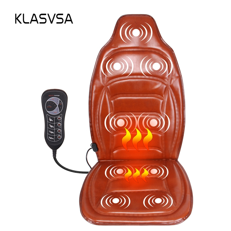 KLASVSA Electric Portable Heating Vibrator Back Massager Chair Car Home Office Lumbar Neck Pain Relief Massage Cushion Pad Seat