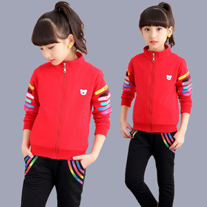 Image 4 - 5 color Girls jacket and trousers two piece Sets Fashion Letter stripe print Sports suit autumn clothes for girls clothes set