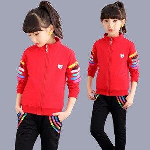 Image 4 - 5 kleur Meisjes jas en broek tweedelige Sets Mode Brief streep print Sport pak herfst kleding voor meisjes kleding set
