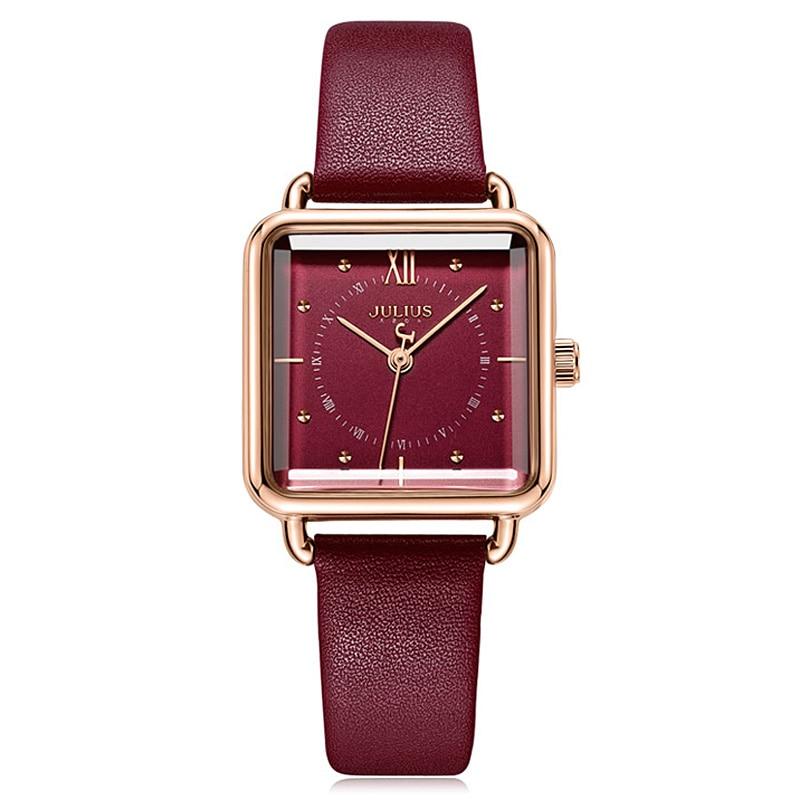 New Julius Lady Women's Watch Japan Quartz Elegant Simple Square Fashion Hours Bracelet Real Leather Girl's Birthday Gift Box