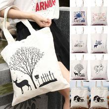 2019 New Cotton Canvas Eco Shopping Tote Shoulder Bag Print Handle Strap все цены