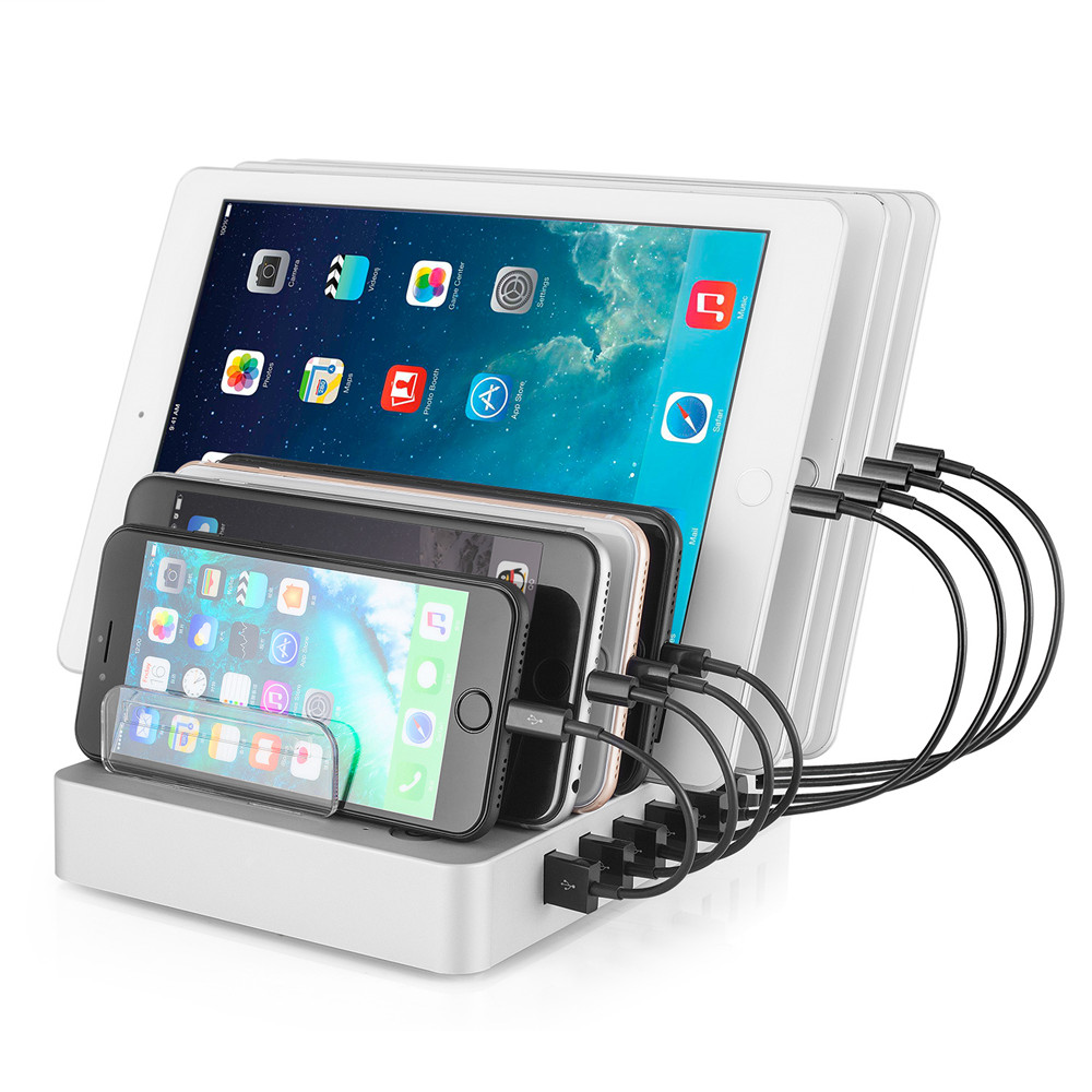 SZYSGSD QC 3.0 Smart 8 Port USB Téléphone Chargeur Avec Téléphone Stand Rapide Station De Recharge Chargeur Multiple De Bureau pour Smartphones
