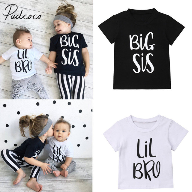2019 Brand New Sis Bro Matching Clothes Letter T-Shirts Little Brother Baby  Boy Cotton T-shirt Big Sister Girls Summer Tee Tops 25324d755c85