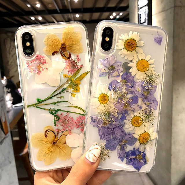 Real Dried Flowers Transparent Soft TPU Cover For iPhone X 6 6S 7 8 plus Handmade Clear Case For iphone XR XS Max Silicone Cover