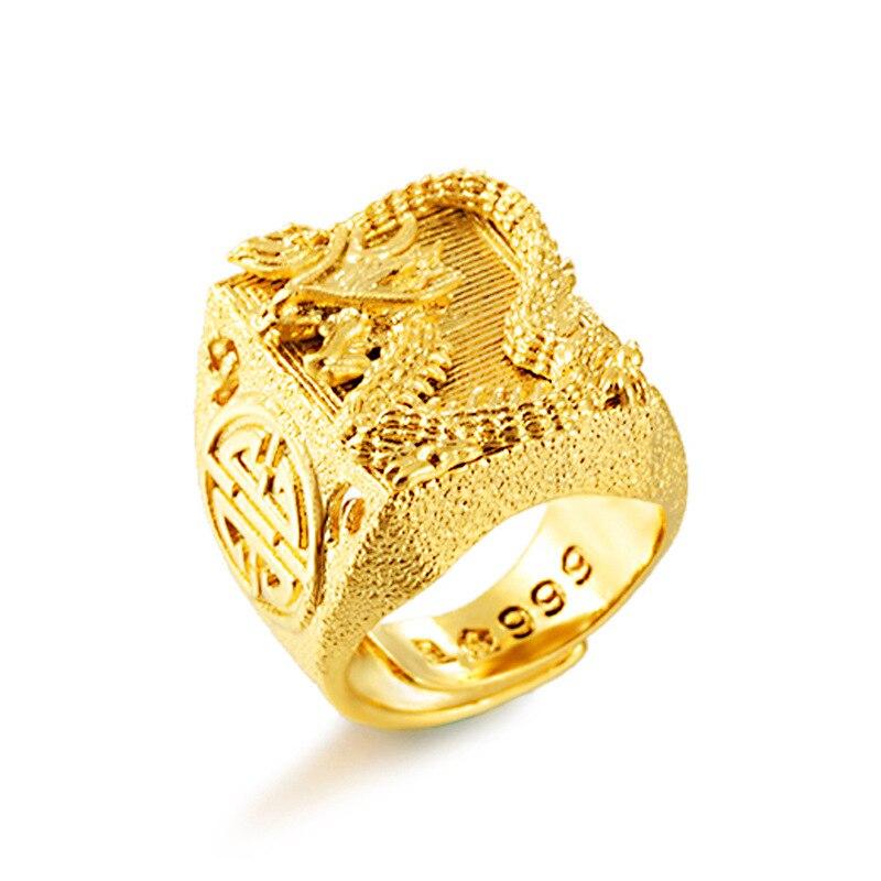 Высокое качество, Золотое кольцо, высокое качество, не выцветает, Вьетнам, аллювиальные золотые кольца с драконом, регулируемые кулаки, коль...