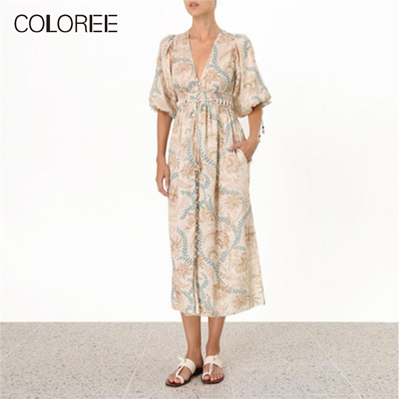 COLOREE High Grade Runway Designer Long Dress 2019 Summer Leaves Print Lace-up Lantern Sleeve Vacation Beach Bohemian Dress