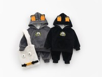 Kids Clothing Sets Cute Cartoon Print Plus Velvet Winter Suits For Girl Boys Thicken Newborn Baby New Year Costume Toddler 2pcs