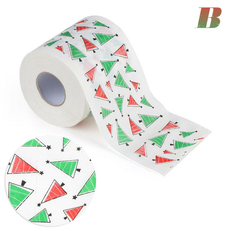 Image 2 - 4 Colors Christmas Printing Paper Toilet Tissues Novelty Roll Toilet Paper Christmas Decoration For Home Wholesale-in Party DIY Decorations from Home & Garden
