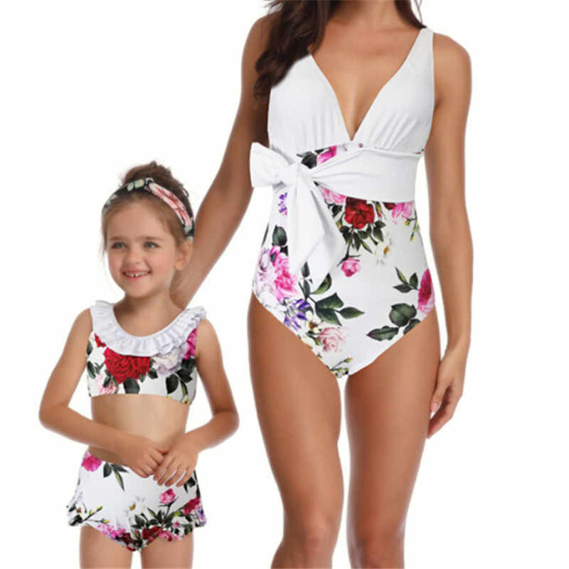 12ac6d6323 Mommy Me Swimwear New Family Matching Bikini Mom Kids Girls Floral Printed  Swimwear Mother Daughter Swimsuit Outfits