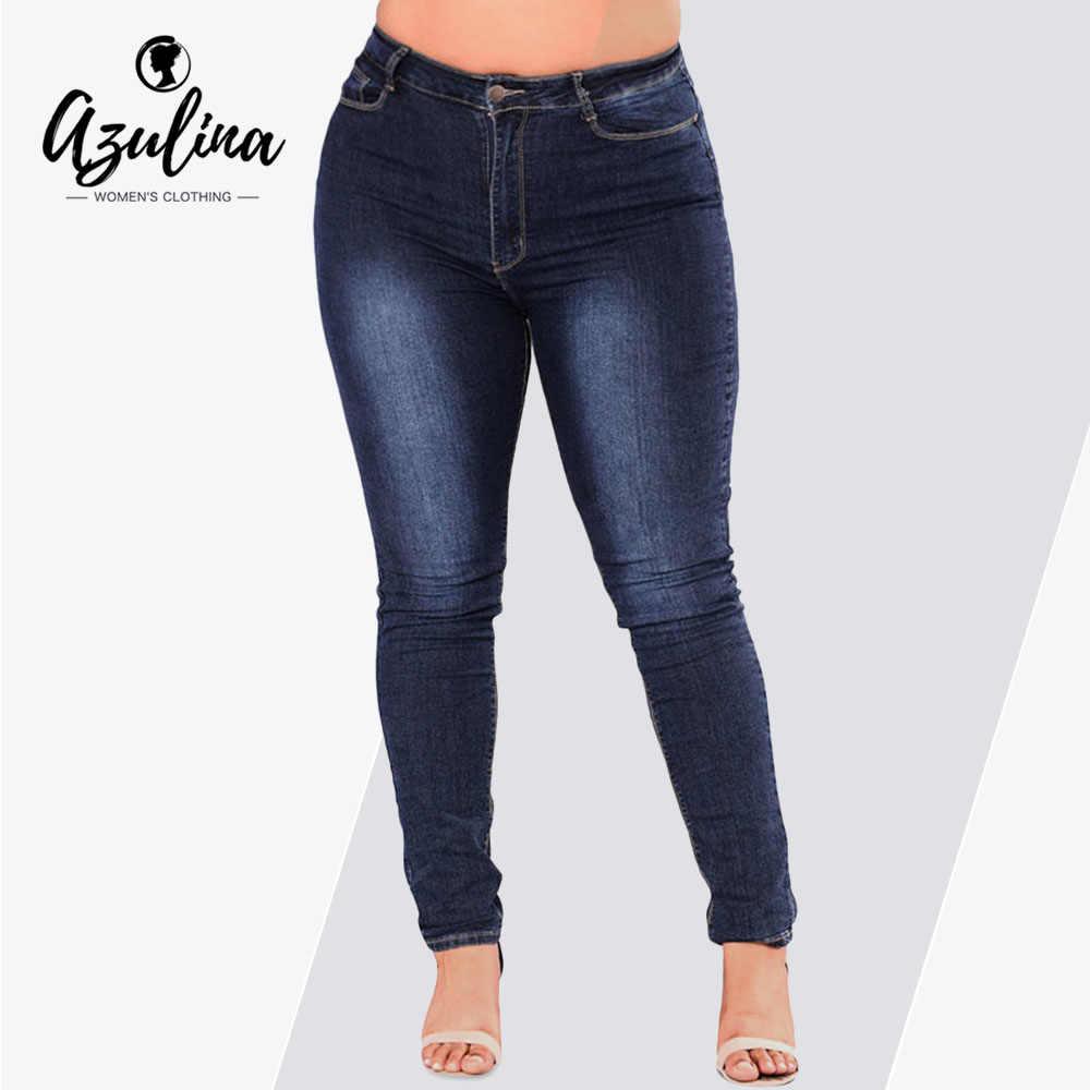 242579c195c AZULINA Plus Size Women Jeans Fashion High Waist Pocket Denim Pants Female  Pencil Pants Autumn Casual