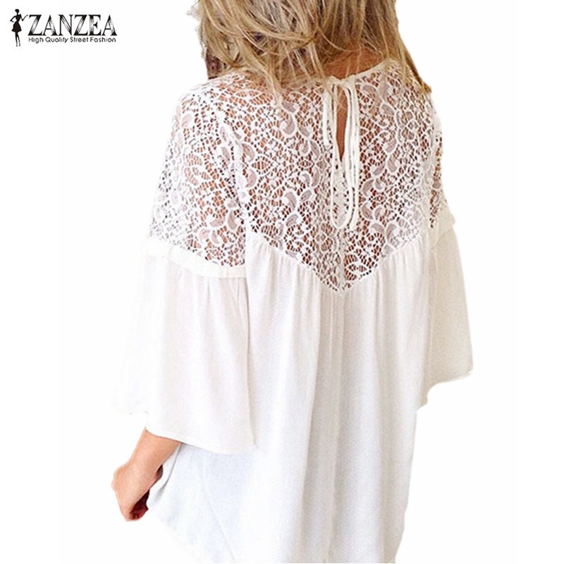ZANZEA Summer 2020 Women Blouse Chiffon Patchwork Lace Floral Crochet Shirt O Neck Casual Loose Tops Blusas Femininas Plus Size