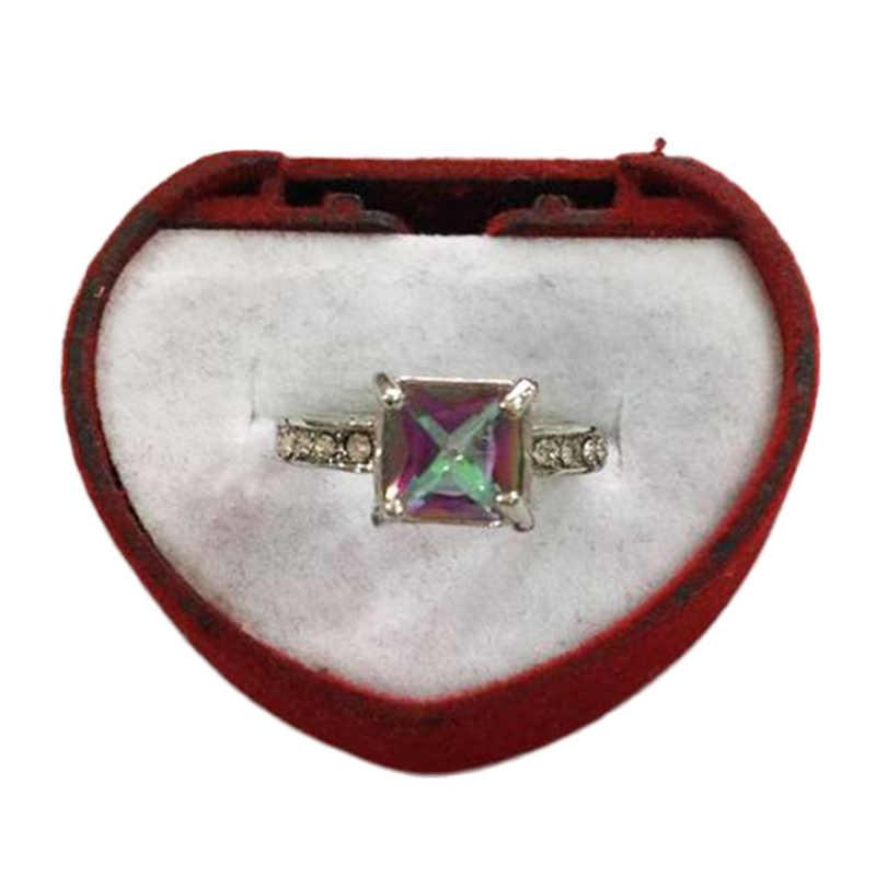 Anillo de colores para fiestas tamaño 6, 7,8, 9,10 1 unidad para mujer piedra grande y cuadrado regalo de San Valentín de plata compromiso cristal azul verde circonio de boda