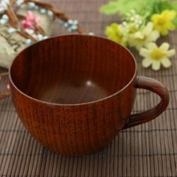 Natural Wooden Tea Cup with Handgrip Coffee Tea Milk Cup Home Bar Wine Beer Juice Water Cup Drinkware Supplies