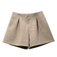 WQJGR 2019 Spring Shorts Woman New High Waist Zipper Fly Loose Wide Leg Short Feminino