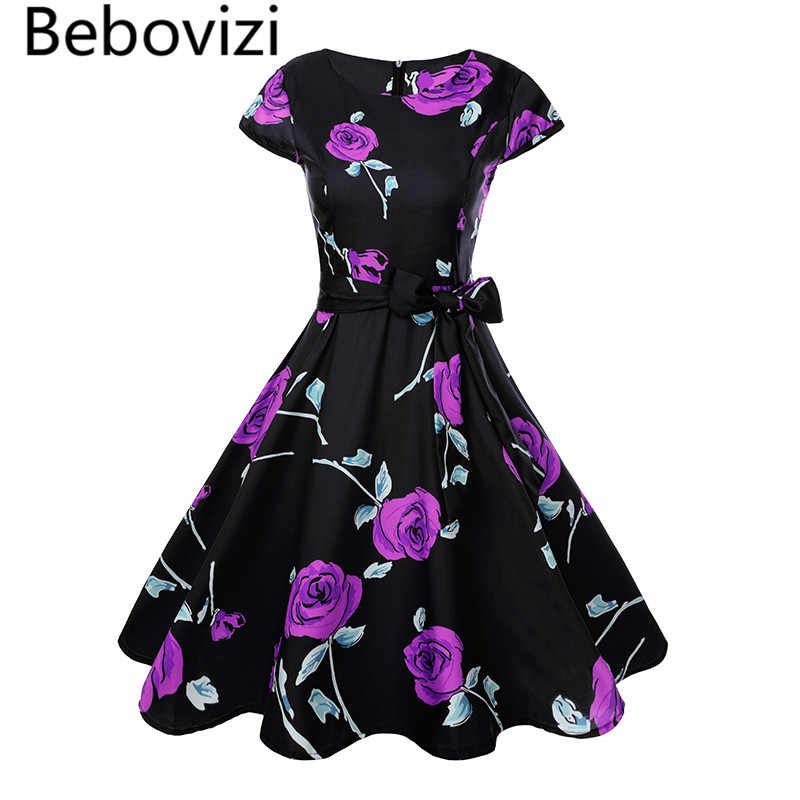 cdc7348dd84a Bebovizi Women 50s 60 Retro Vintage Dress Purple Red Rose Floral Print  Rockabilly Swing Robe Femme
