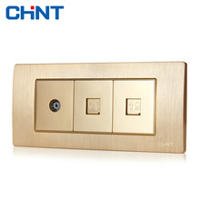 CHINT Socket Connect 118 Type Switch NEW5D Embedded Steel Frame Three Gang TV Telephones Computer