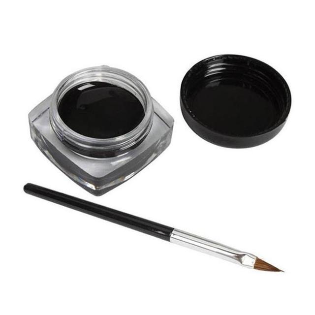 1set Make Up Eyeshadow Mini Eyeliner Gel Cream with Brush Makeup Cosmetic Black Life Waterproof Maquillaje