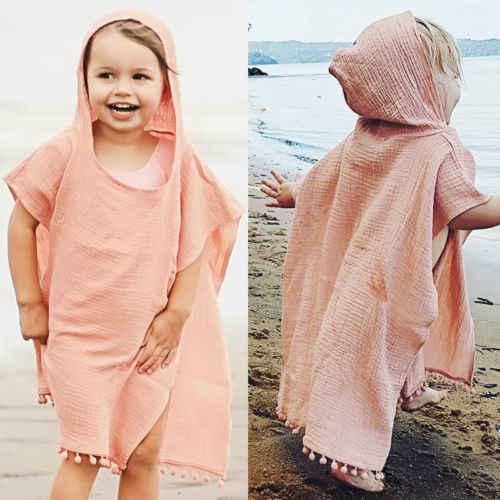 יוניסקס ילדי תינוק בנות פעוטות עטלף פונצ 'ו מעיל רופף ציצית גלימת כותנה פשתן גלימת קייפ קיץ בגדי 0-4Y