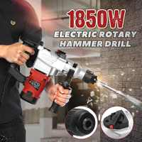 1850W 220V Electric Demolition Jack Hammer Rotary Jackhammer Electric Concrete Drill + 4 Chisels 5200BPM