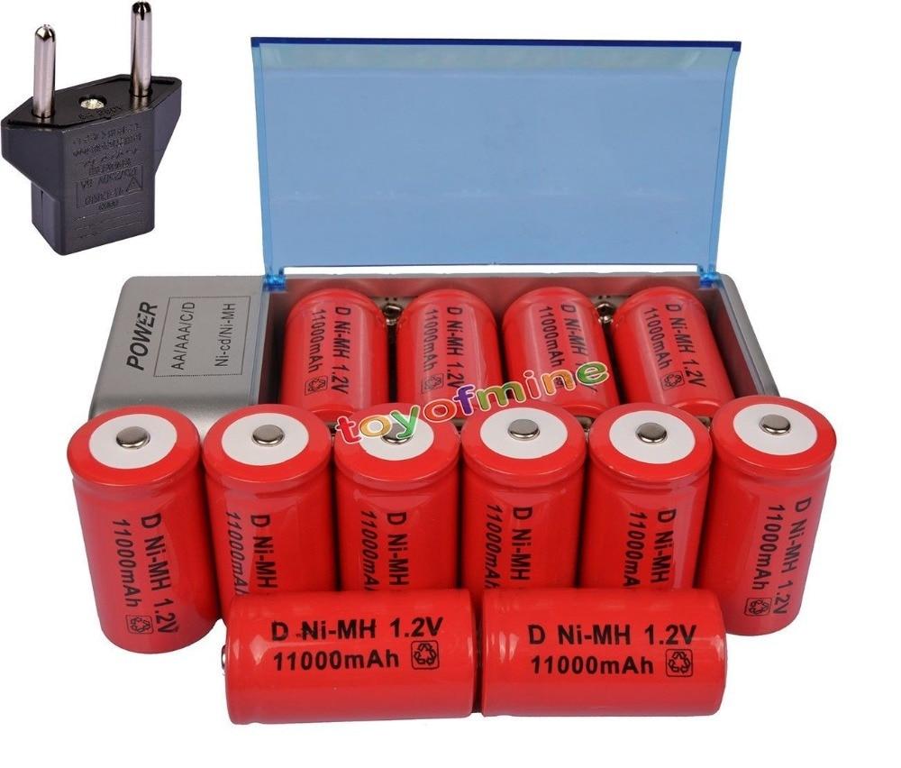 12 pièces D taille 11000 mAh batterie Rechargeable Ni-MH CD AA taille D avec chargeur universel