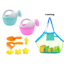 Soft Rubber Sand Beach Toy Set Outdoor Beach Animal Mold Sanding Toy Sand Shovel Target + Big Mesh Beach Bag- Random Color(China)