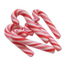 CNIM Горячая 50 шт. красный и белый ручной работы рождественские конфеты трость Kawaii миниатюрная еда для кукольного домика домашний декор глина конфеты трость