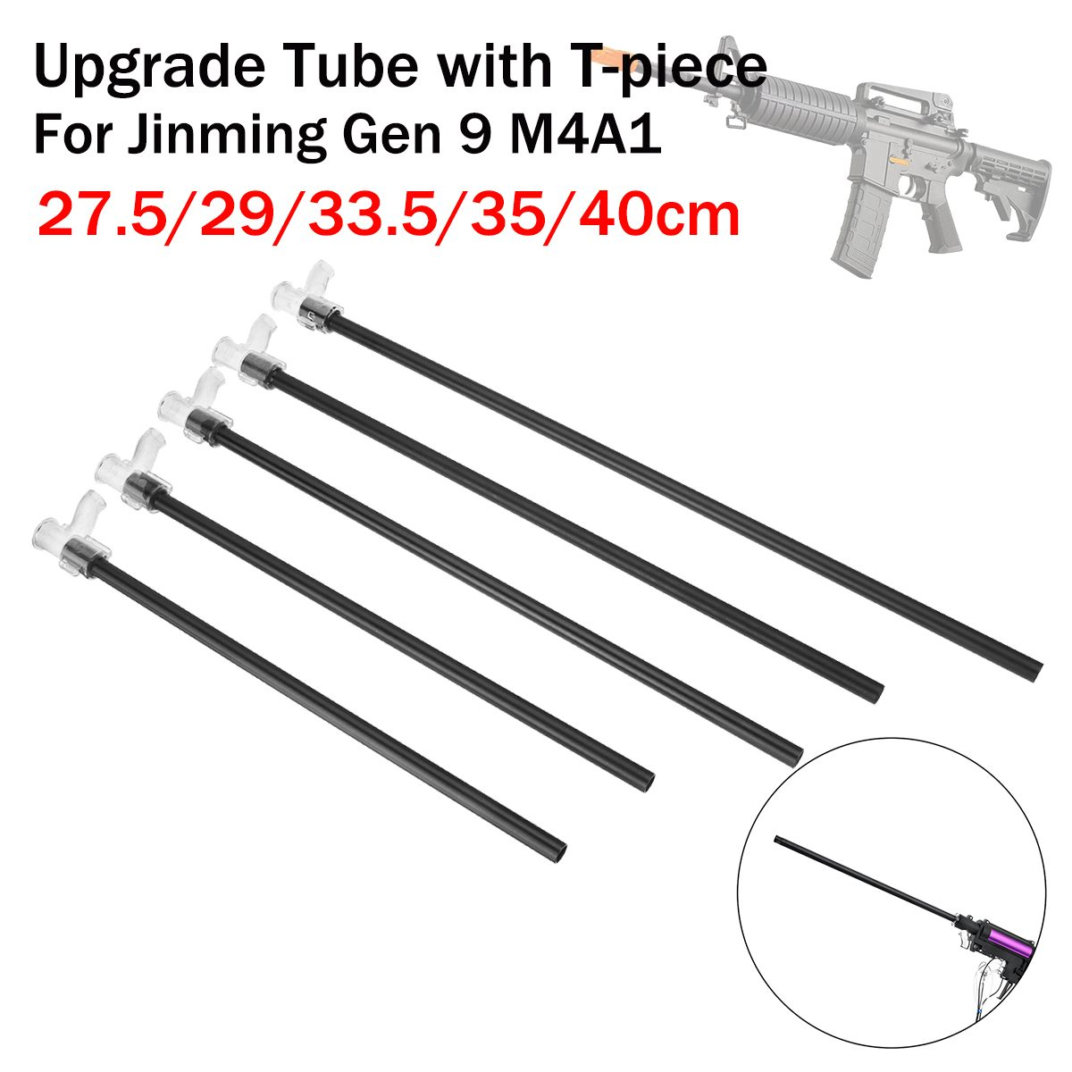 27.5/29/33.5/35/40cm Upgrade Tube+T-piece Gel Ball For Jinming Gen 9 For M4A1 Chirdren Toy Accessory
