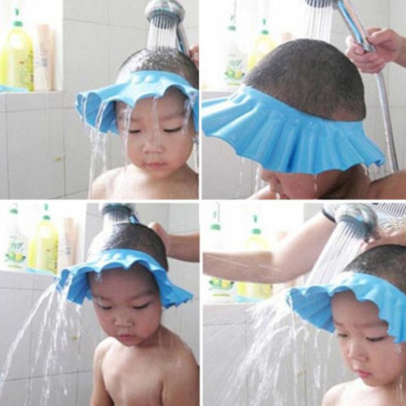 Waterproof Fabric Bath Shower Protection Hat for Baby Children Hair Elastic Hat pink