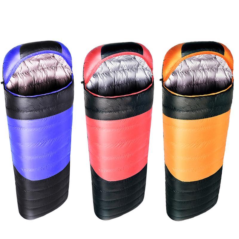 Sac de couchage Portable hiver extérieur Camping fournitures 1800G épais canard vers le bas chaud imperméable sac de couchage avec sac de Compression