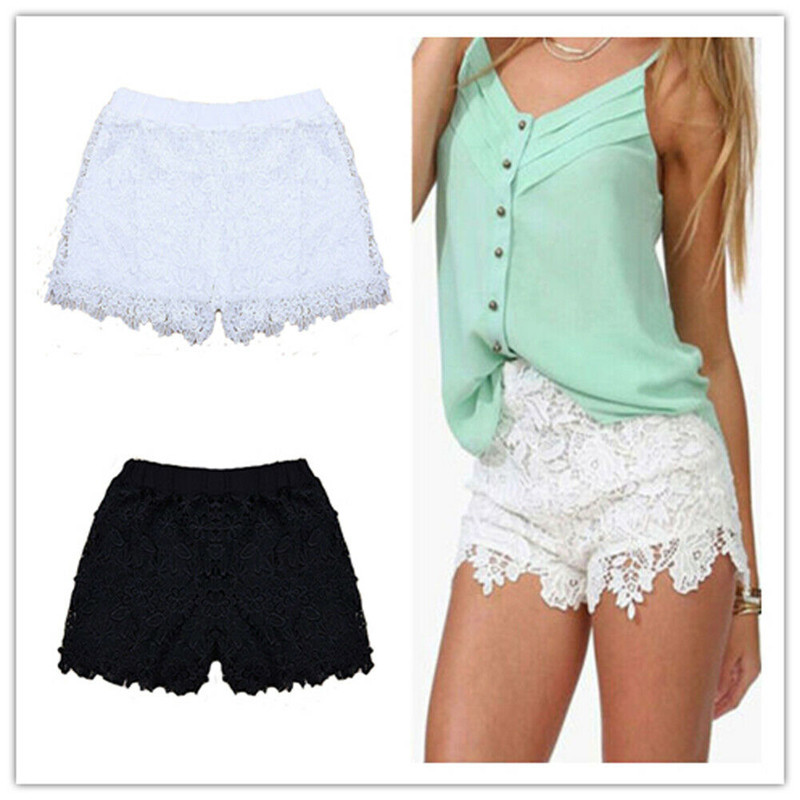 Woman Summer Lace Floral Shorts Summer New Ladies Mini Mesh Lace Crochet Flower High Waist Women Shorts Summer Clothing Canis